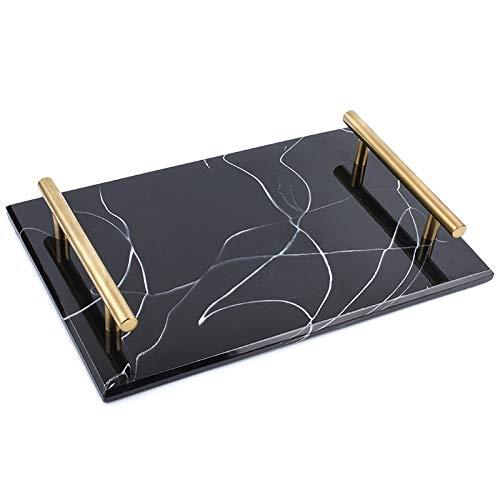Vaorwne Anti-Marmor Fach Ablagefach Kuchennachtisch Tablett Sushi Tray Schmuck Display Tray Dekoration Bad Lagerung Hotel Ablageschale Schwarz