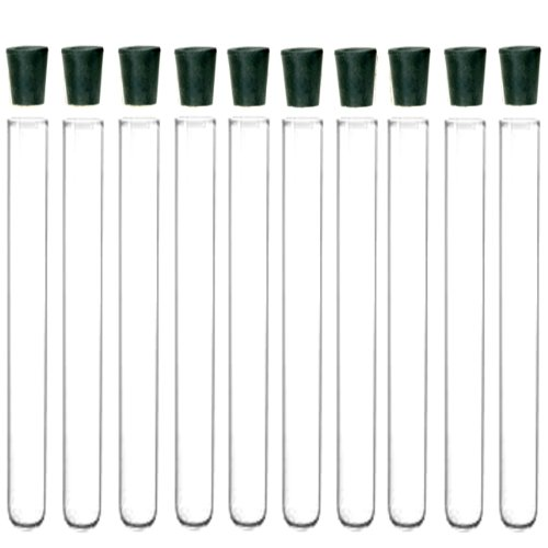 10 Pack - 20x150mm Pyrex Glass Test Tubes with Rubber Stoppers New