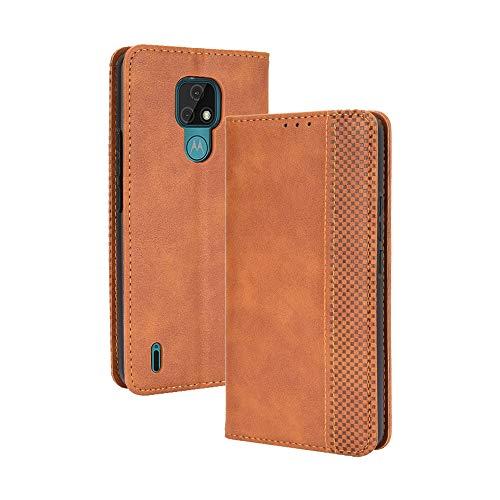 GOGME Leder Hülle für Motorola Moto E7 Hülle, Premium PU/TPU Leder Folio Hülle Schutzhülle Handyhülle, Flip Hülle Klapphülle Lederhülle mit Standfunktion und Kartensteckplätzen, Brown