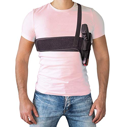 JIEDE Deep Concealment Shoulder Holster, Universal Underarm Gun Holster for Subcompact and Compact Pistols, Fits Glock 17 19 26 42 43, M&P Shield 9mm, S&W Bodyguard, Revolver, Sig P320