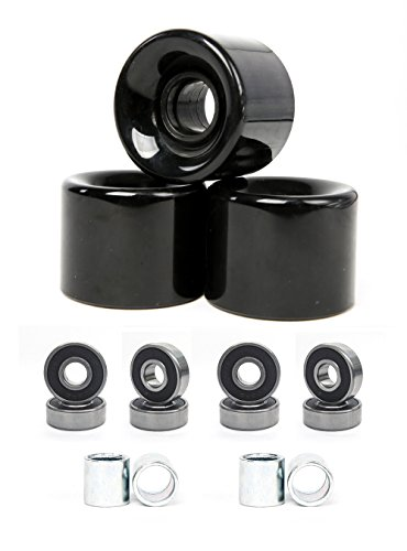 FREEDARE Skateboard Wheels 58mm 82a + ABEC-7 Bearing Steel and Spacers Cruiser Wheels (Black, Pack of 4)