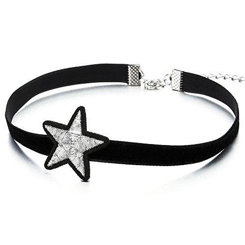 COOLSTEELANDBEYOND Negro Collar de Gargantilla Choker Collar de Mujer Niñas, Plata Negro Estrella Pentagrama Charm