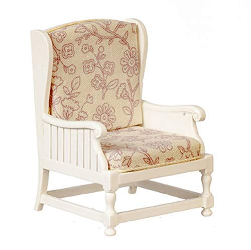 Melody Jane Dollhouse White Wooden Armchair Shabby Chic Chair JBM Living Room Furniture