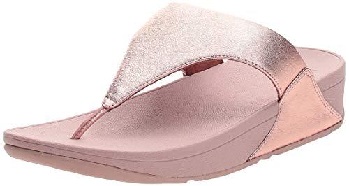 FitFlop Women's Lulu Toe Post-Leather Flip-Flop, Rose Gold, 8