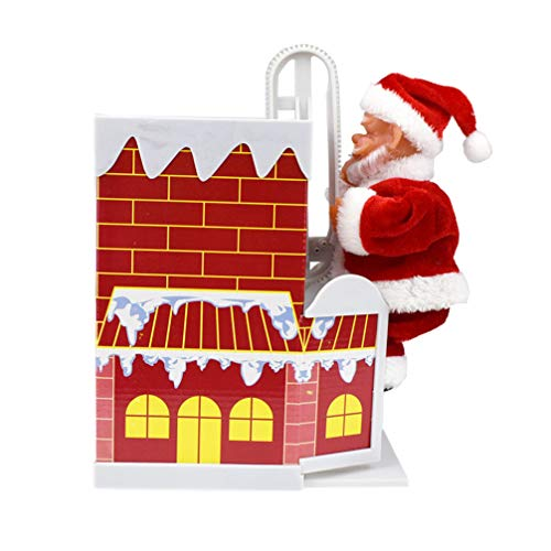 TOYANDONA Electric Santa Claus Climbing Chimney Santa Claus Musical Christmas Toys Christmas Santa Dolls for Kids Gift Table Decor (Without Battery)