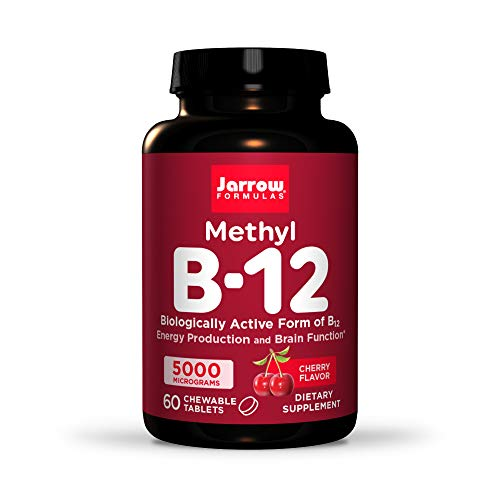 Jarrow Formulas Methyl B-12 5000 mcg - 60 Chewable Tablets, Cherry - Bioactive Vitamin B12 - Supports Energy Production, Brain Health & Metabolism - Gluten Free - 60 Servings