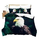 Loussiesd 3D Adler drucken Bettwäsche 135x200 cm für Kinder Jungen Lebhaft Adler Bettbezug Set Mädchen Frauen Vögel Muster Bettwäsche Set mit 1 Kissenbezug 80x80cm Super weich Mikrofaser
