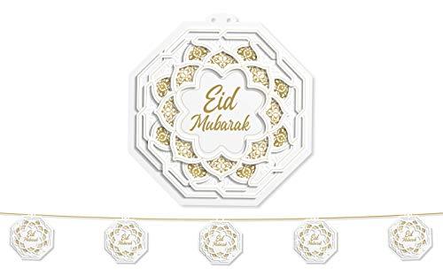 Al-Muallim Books Eid Mubarak Hanging Garland Lanterns Bunting - Round - Eid Party Decorations (White & Gold (Large Eid Garland))