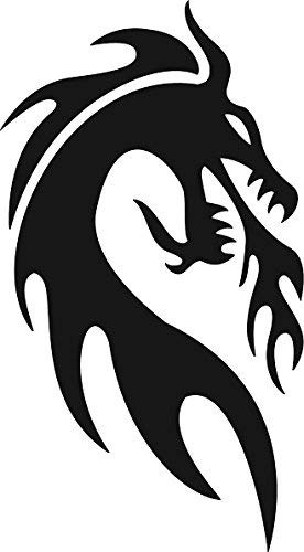 NGK Trading Cool Simple Asian Dragon Black and White Shadow Silhouette Cartoon (2' Tall, Dragon #3) Truck Car Bumper Sticker Decal Wall Laptop