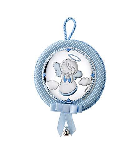 DOCOLASTRA Medalla Personalizada de Cuna ó Cochecito Musical, con cascabel y Angel de la Guarda en plata bilaminada.