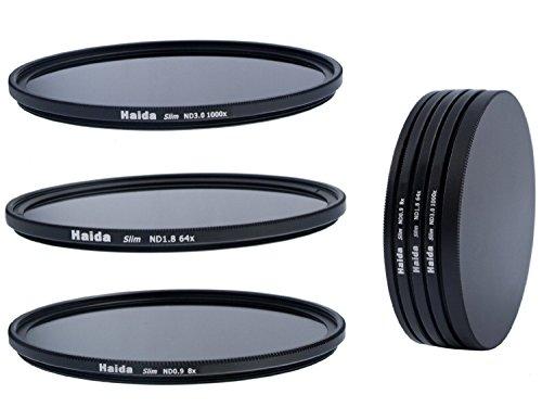 Slim Neutral Graufilter Set bestehend aus ND8, ND64, ND1000 Filtern 55mm inkl. Stack Cap Filtercontainer + Pro Lens Cap mit Innengriff