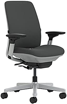Steelcase Amia Chair with Platinum Base & Standard Carpet Casters, Graphite