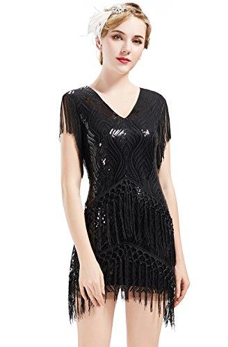 ArtiDeco 1920s Charleston Kleid Mini Damen Vintage Gatsby Kostüm Flapper 20er Jahre Cocktailkleid (Schwarz, XS)