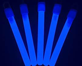 "Glow Sticks Bulk Wholesale, 50 4"" Blue Glow Stick Light Sticks. Bright Color, Kids Love Them! Glow 8-12 Hrs, 2-Year Shelf Life, Sturdy Packaging, GlowWithUs Brand"