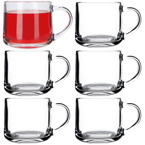KADAX Teegläser, Gläser mit Henkel, 6er Set, 350ml, Becher aus dickem Glas, Trinkgläser für Tee, Kaffee, Wasser, Saft, Cappuccino, Eistee, Kaffeegläser, Gläserset, Glastassen