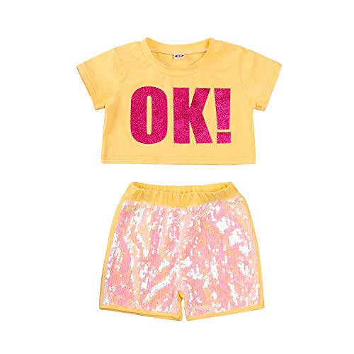 nvIEFE Conjunto de pantalones cortos de lentejuelas con cuello redondo y manga corta + pantalones cortos para verano (1T-7 años)