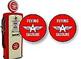 2 Vintage Flying A Gasoline Antique Gas Pump 4' Decals Garage Service Station Pumps Sign Stickers ((2) 4' Round Decals)