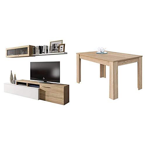 Habitdesign Mueble De Salón Comedor Moderno, Roble, Blanco Brillo Canadian + 004586F - Mesa de Comedor Extensible de 140 a 190 cm, Color Roble Canadian