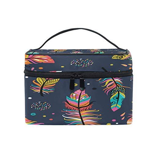 Plumas en Boho Style Fashion Amazing Makeup Bag, Cosmetic Bag, Toiletry Bag, Cosmetic Makeup Organizer Case Storage, Viaje, Profesional, Con bolsa de malla