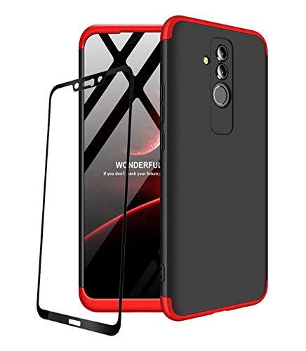 JOYTAG compatibles para Funda Huawei Mate 20 Lite Carcasa +Protectora de película de Vidrio Templado 360 Grados Ultra Delgado 3 en 1 Case-Rojo Negro