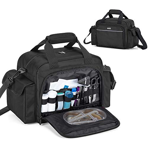 Trunab Home Health Nurse Bag Empty Portable Medical Supplies Shoulder Bag for Hospice Home Visit Nursing Students Black Bag Only
