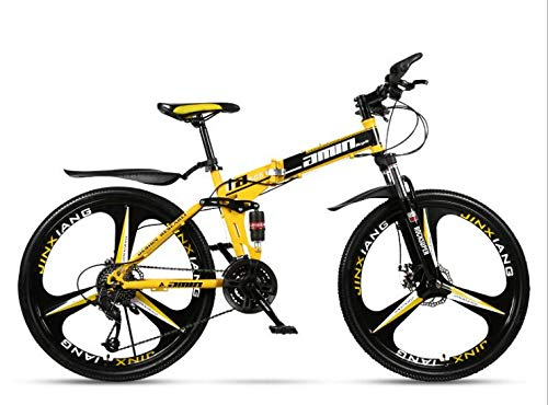 COUYY Double Shock 26 inches Yellow, Triangle Wheel Folding Bike Mito, Double disc Mountain Bike Bicycle Adult Male and Female Students,27 Speed