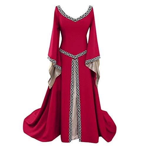 iHENGH Damen Frühling Sommer Rock Bequem Lässig Mode Kleider Frauen Röcke Langarm V-Ausschnitt Mittelalterlich Kleid Bodenlang Cosplay Kleid(Rot, M)