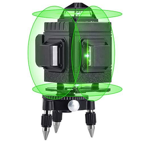 Nivel Láser de 16 Líneas, Nivelador Láser Verde en Cruz 4 x 360ºAutomático 4D, con Dos Líneas Verticales y Dos Líneas Horizontales, Batería Recargable, Control Remoto