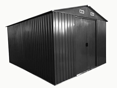 ASS Gartenhaus Geräteschuppen 11m² 3x3,65m aus verzinktem Stahlblech Metall grau 'mit großer Türe' von