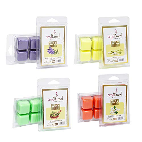 Ampliscent Scented Wax Melts -Set of 4 (2.5 oz) Assorted Wax Warmer Cubes/Tarts - Aromatherapy, Exotic Jasmine, Lemongrass and English Lavender