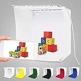 Caja de Luz Fotografía para Estudio Fotográfico,Photo Studio Light Box Fotografía con 2 Tiras de LED 6 Fondos de Colores, Portátil,Fácil de Instalar