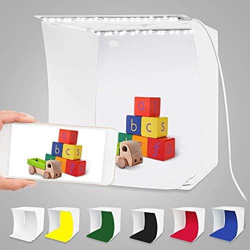 Mini Fotostudio Lichtzelt Fotobox,Fotografie Studio Kit Leuchtkasten für produktfotografie Faltbare Kleine Fotografie Studio mit 2x20 LED-Leuchten 6 Farben Backdrops (24 x 22 x22cm)