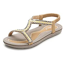 Apricot-1 Casual Open Toe Ankle Crystal Gladiator Sandal