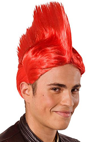Folat 26724 – Perruque Mohawk, One Size, Rouge