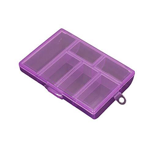 HBWHY Caja de almacenamiento transparente con 6 rejillas, organizador de suministros de costura, organizador de joyas, contenedor para cuentas, collares, pendientes, anillos, accesorios, color morado