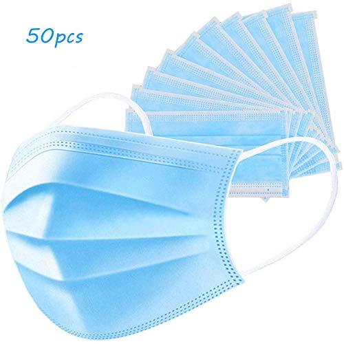 Wonmax Staubdichter Vollgesichtsschutz für Gesundheitsschutz Mundschutz Gesichtsfilter Anti-Saliva-Schutzabdeckung, 50 Stück pro Box weiß