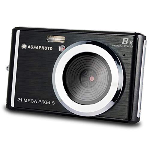 AgfaPhoto DC5200-BK: Cámara Digital Compacta con Sensor CMOS de 21 Megapíxeles, Zoom Digital de 8X y Pantalla LCD Negra