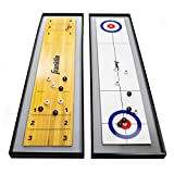 Franklin Sports 2-in-1 Shuffleboard Table and Curling Set - Portable Tabletop Set Includes 8 Rolling Mini...