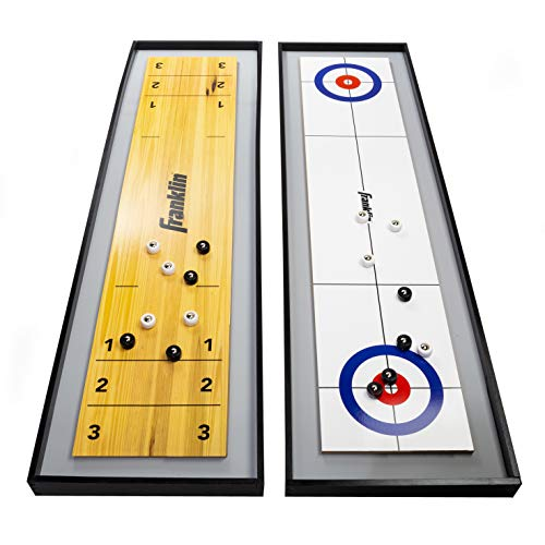 Franklin Sports 2-in-1 Shuffleboard Table and Curling Set - Portable Tabletop Set Includes 8 Rolling...