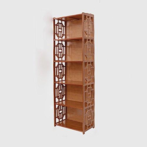 Bibliothèque Sexy Bamboo étagère 2/3/4/5-niveau Petite Solide Bois Armoire de Rangement Combinaison Libre de Haute capacité vin Rouge (Taille : 52 * 29 * 163cm)