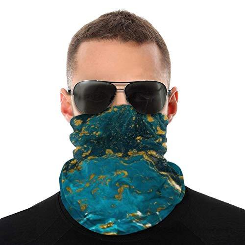 WH-CLA Calentador De Cuello Pintura Textura Arte Natural Lujo Azul Oro Brillo Antipolvo Cuello Polaina Calentador Ciclismo Bandanas Protección Solar Sombreros Sin Costuras Transpirable E
