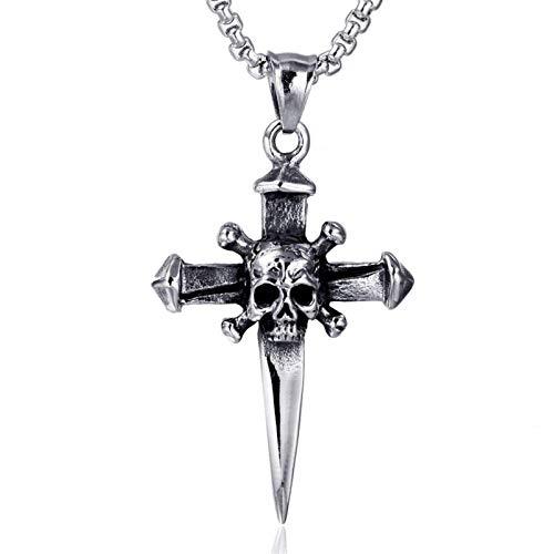 NAIKLY Skull Cross Biker Colgante Colgante - Collar de uñas gótico Joyería Punk Hombres Muchacho Adolescente Mujeres Mujeres Juveniles - Cadena de 24 Pulgadas incluida, Regal