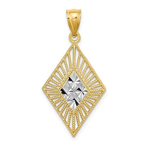 JewelryWeb - Colgante de marquesina Blanca de 15 mm con Forma de Diamante y Borde Recortado