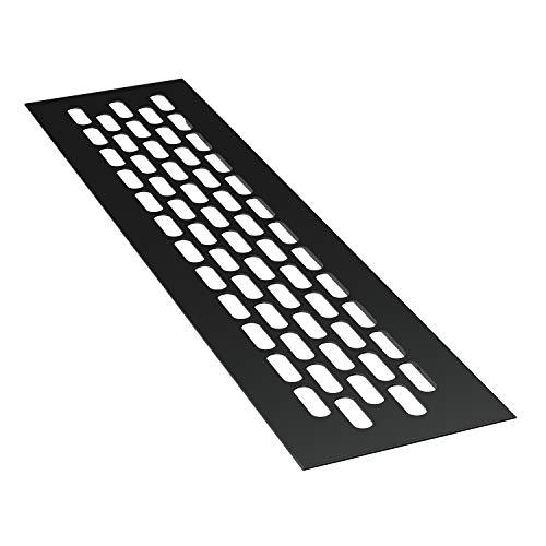 sossai® Rejillas de ventilación de aluminio - Alucratis (1 pieza) | Rectangular - dimensiones: 24,5 x 6 cm | Color: negro | rejilla de aire