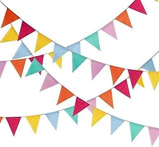 48pcs Guirnalda Banderas Banderines de colores triángulo Banner Guirnaldas Tela Banderines Banderín de arpillera,para la Fiesta de Bodas del cumpleaños Decoración Colgante de Fiestav