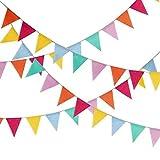 G2PLUS 11M Leinen Wimpel Hessischen Girlande Vintage Rustikal Süße Bunting Wimpelkette Farbenfroh Wimpeln für Geburtstagsfeier (Mehrfarbig-11M)