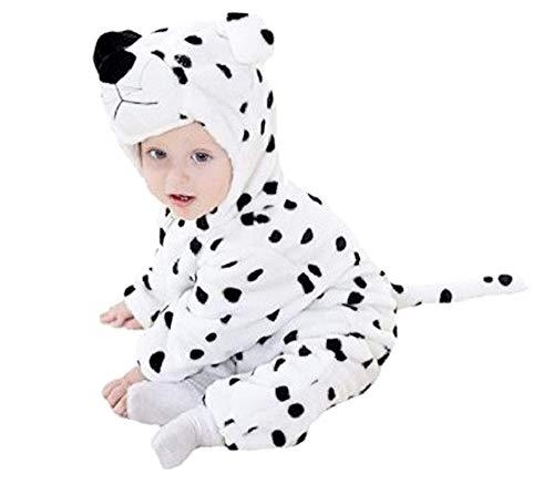 Traje de carnaval de Dálmata mono entero sin pies con capucha de suave forro polar tierno idea disfraz para niños talla 3-4 años 90 cm Pijama cómodo regalo Navidad
