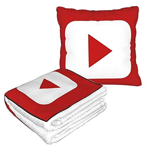 Hdadwy Youtube Super Soft Velvet Flannel Travel Blanket and Pillow 2 in 1 Airplane Blanket Black