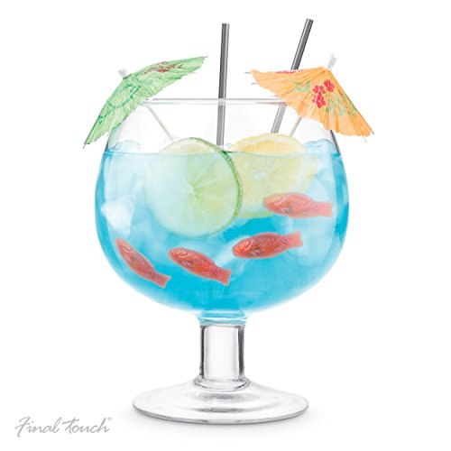 Final Touch Fishbowl Cocktail Ballon Glas XL 1,3 l | Party Margarita Daiquiri Blue Lagoon Riesen-Trinkbecher