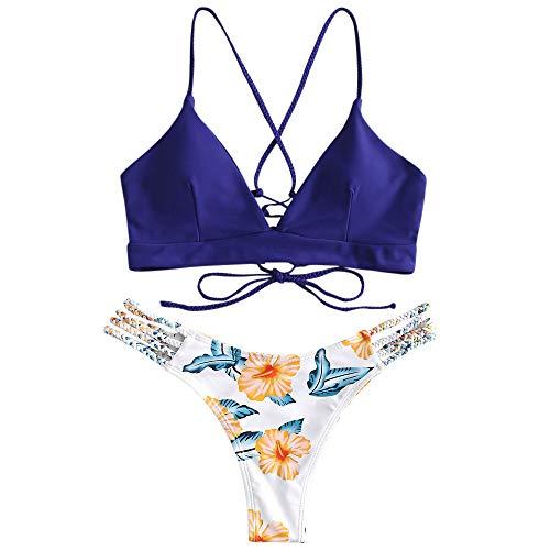 ZAFUL Costume da Bagno da Donna Push up Set Bikini Imbottito con Allacciatura Intrecciataa (L, Blu Scuro)